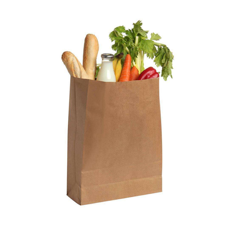 100% biodegradable heavy duty craft vegetable paperbags without handles plain brown kraft grocery paper bag for supermarket
