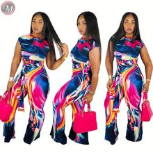 9072502 queenmoen new fashion tie dye matching tops and pants woman clothing two piece set