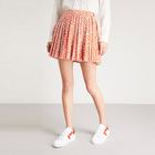 Wholesale new design ladies pink leopard print a line pleated mini skirt discount sale