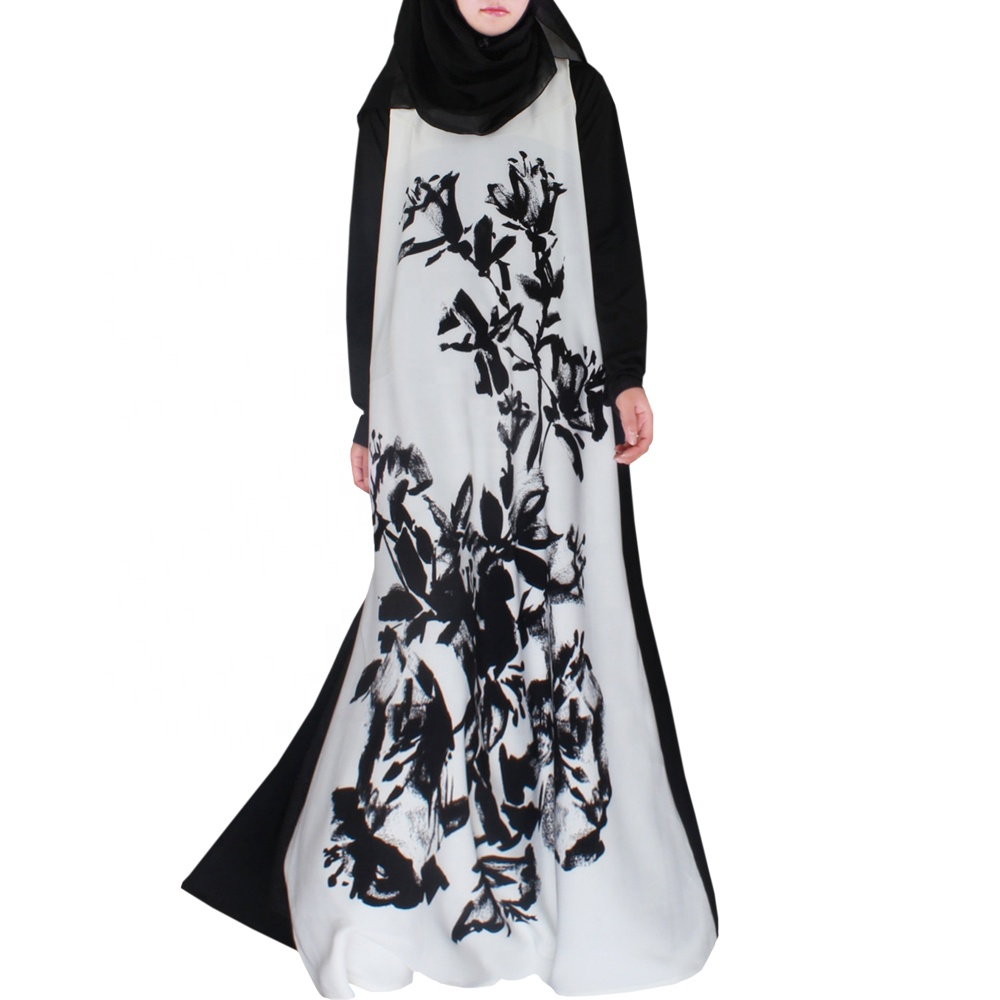 2019 new design high quality ink printing abaya long sleeve muslim abaya wholesale women long dress Islamic clothing for women, Contact supplier to get the latest color chart