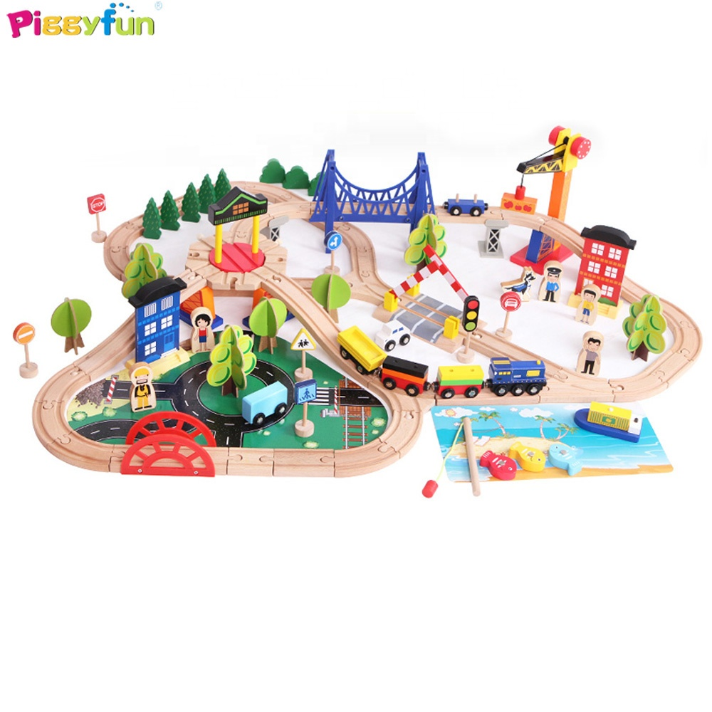 Toys 2019 Wooden Train Set Compatible with All Major Brands AT11203