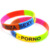 Wholesale Fashion Cheap Custom Silicon Bands Dual Color Wristband With Metal Tube
