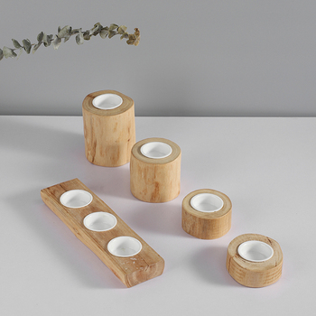 New products factory price wedding decorative tea light wooden stand ceramic candle holder for home decor