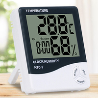 Indoor Digital C/F Room Thermometer Hygrometer Temperature Humidity Meter Clock HTC-1 for home weather station multi-funcation