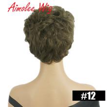 Короткие натуральные волнистые волосы парик пушистый черный золотой изюминка Цветовая смесь человеческий синтетический парик из волос дл...(Китай)