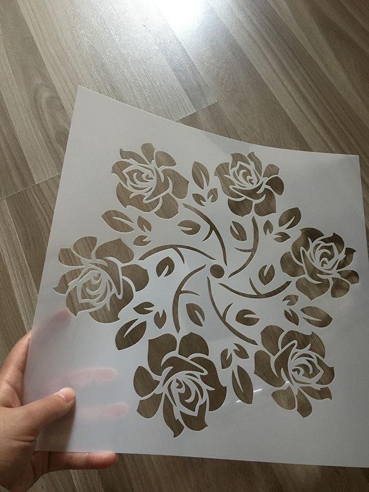 PET hollow custom drawing plastic stencils for kid stationery wall air brush