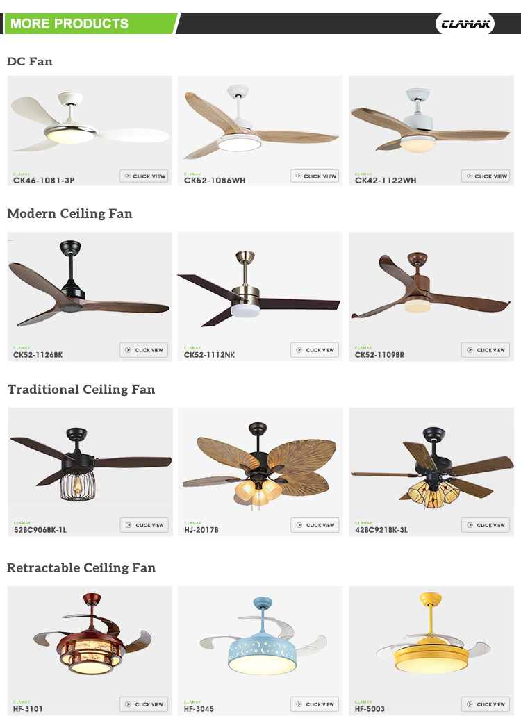 Ceiling light fan White 52 Inch Home Ceiling Fans With Led Light And Remote Control
