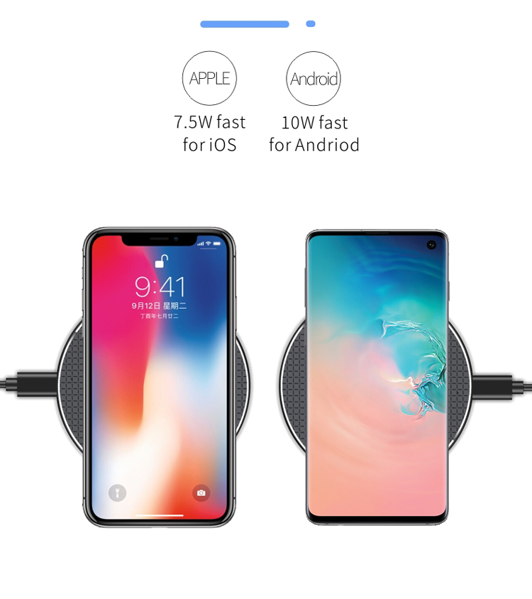 Amazon Hot Sales 10W Slim Fast Wireless Charger qi Certified Phone Charger