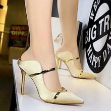 Летние женские шлепанцы; Женская обувь на высоком тонком каблуке; Коллекция 2020 года; Летние пикантные модные туфли-лодочки; Женские шлепанц...(Китай)