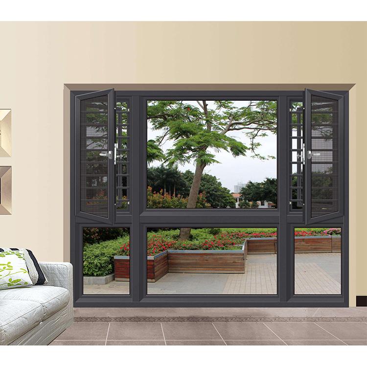 USA power coated casement inward opening aluminum casement window drawing