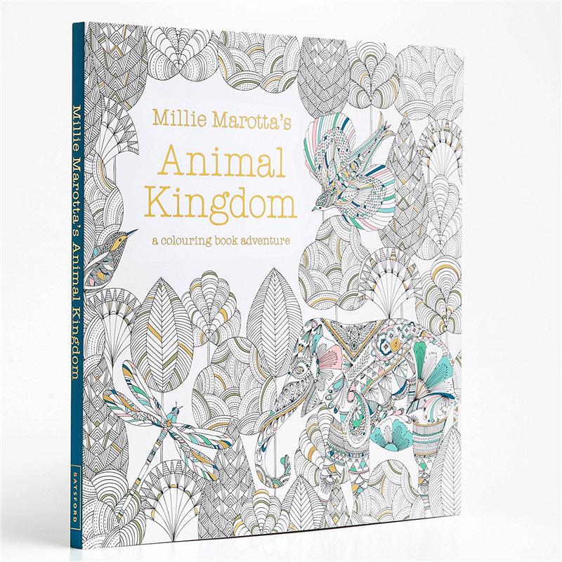 كتاب تلوين للأطفال والكبار النسخة الإنجليزية 96 صفحة مملكة الحيوانات رسم جرافيتي مضاد للإجهاد كتب تلوين فنية Arts Photography Aliexpress