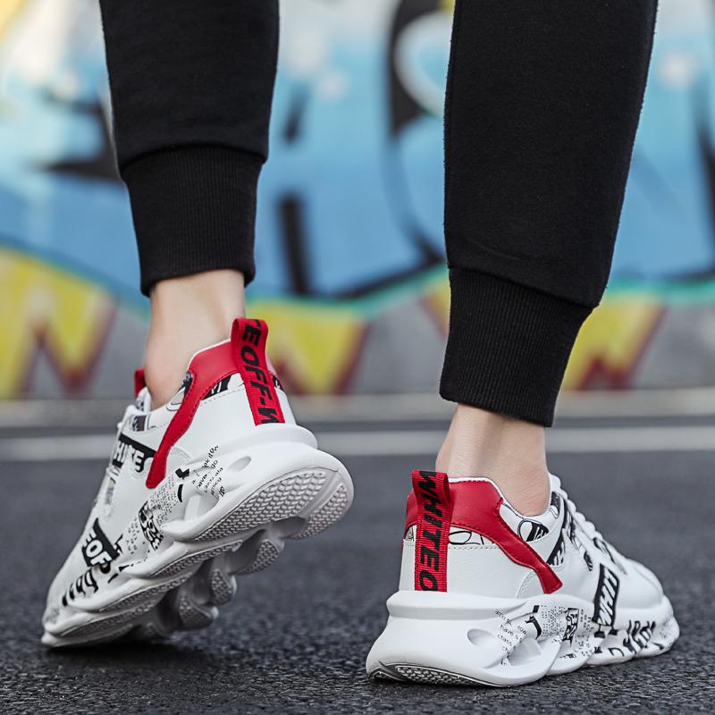 Cheap wholesale Autumn Low Lace-up Sports Shoes Light Breathable Men Running Shoes Trend White Men Shoes Non-slip Sneakers