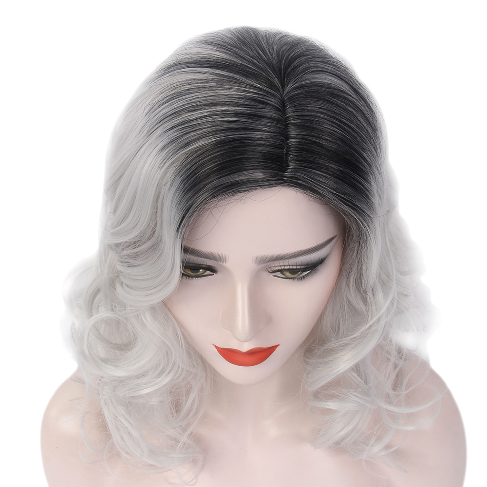 high quality Heat Resistant Black wig synthetic hair Long Wave Wigs For Women