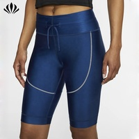 New arrival biker shorts women compression running shorts zip pocket on the waistband reflective trim gym workout women shorts