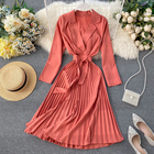 French Retro Women Tailored Collar Pleated Midi Dress