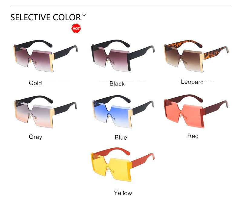 Vintage Big Square Sunglasses Women Frame less Classic Brands Design Men Sunglasses New Anti-Reflective Mirror Glasses Uv400