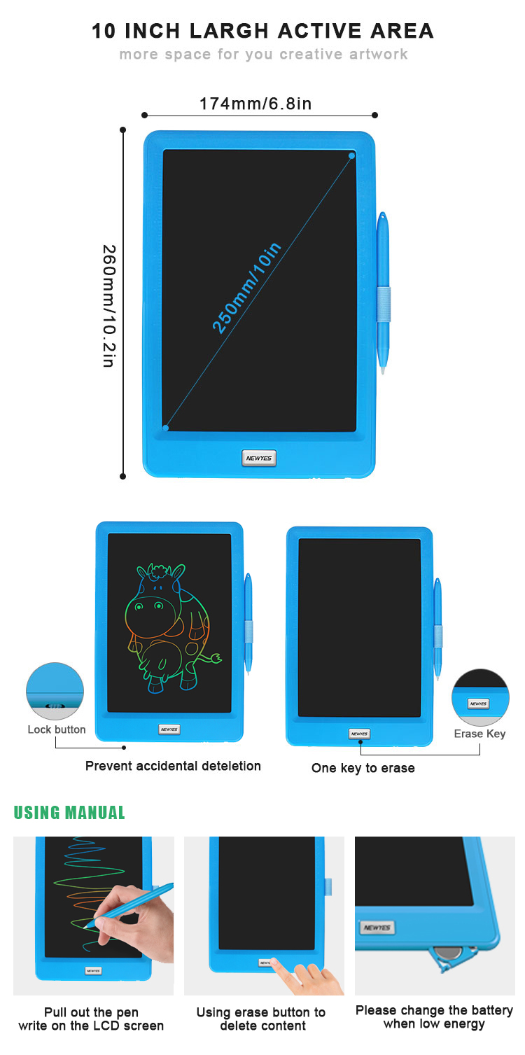 Children Gifts 10 Inch Magnetic LCD Drawing Board Colorful Electronic Writing Tablet
