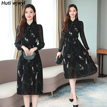 Женское винтажное плиссированное платье средней длины из шифона с длинным рукавом и принтом, элегантные вечерние платья, модель 2020(Китай)