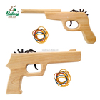 Solid wood outdoor rubber band shooting child wooden toy gun