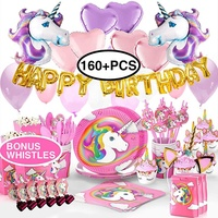 Nicro New Arrivals 160+ PCS Kid Birthday Decorations Favors Set Unicorn Party Supplies