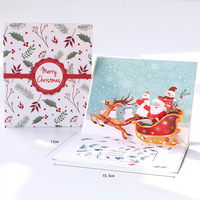 holiday small popup Elk christmas Santa Claus souvenirs Greeting postcards creative christmas gift 3d handmade christmas card