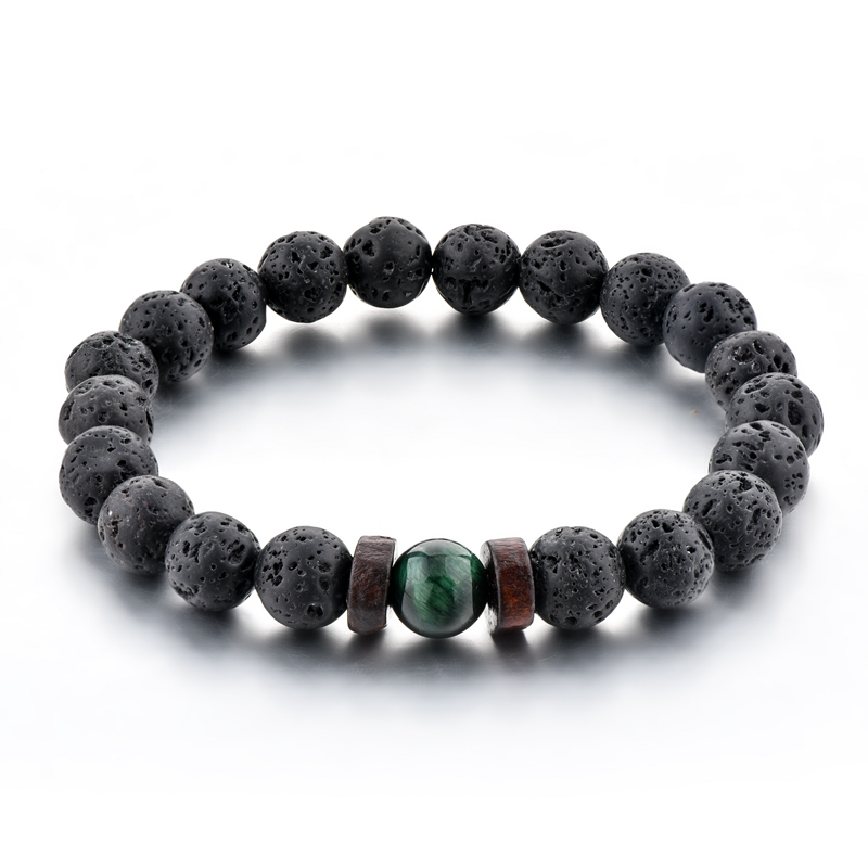 New Arrival Lava Stone <strong>Bracelet</strong> ,Wood Space With <strong>Tiger</strong> <strong>Eye</strong> Stone <strong>Bracelet</strong> Men