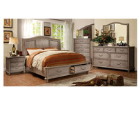 New desig classic king size solid wood bedroom furniture with bedside table