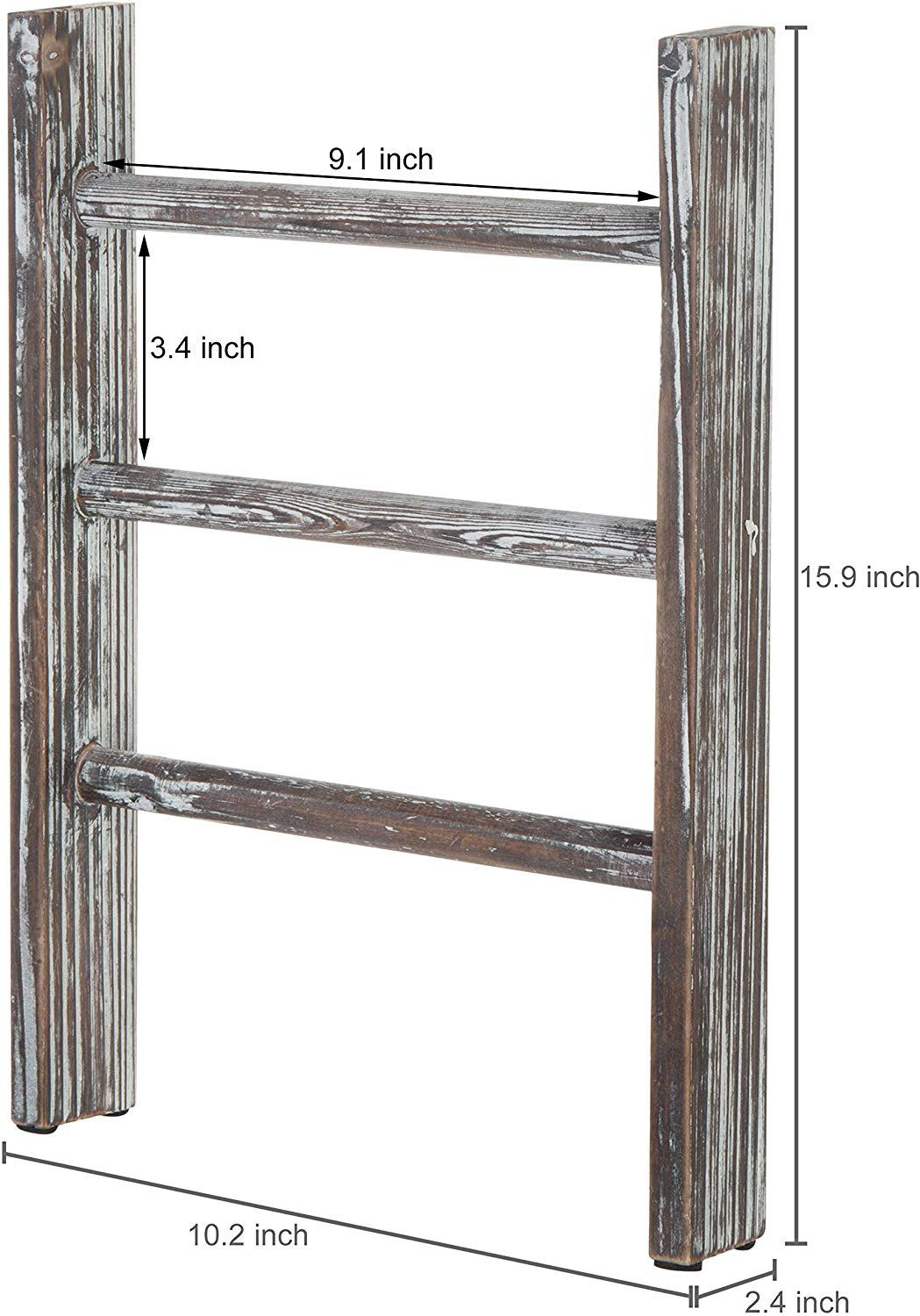 ustic Torched Wood Countertop 16-Inch Ladder Kitchen Towel Rack