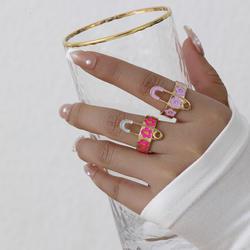 Indie Special Design Y2K Enamel Flower Rings Band