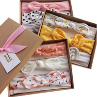 New arrival newborn baby sweet mixed color hairbands bow cotton 3 pieces a pack elastic head bands kids head accessories