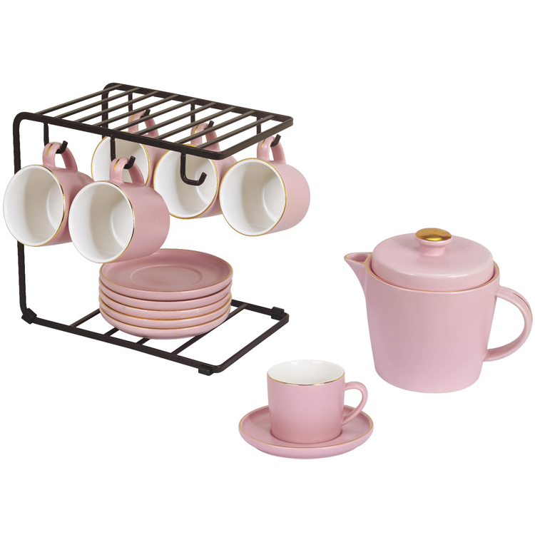 high quality ceramic pink color golden rim 200ml girls coffee <strong>tea</strong> <strong>set</strong> <strong>porcelain</strong>