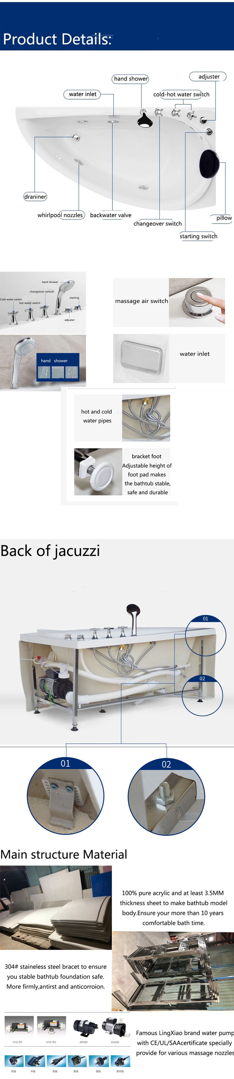 AO-6097  bathtub size 1.8x1.2m Chinese whirlpool spa hot hydromassage jetted bathtub with jakuzzy function