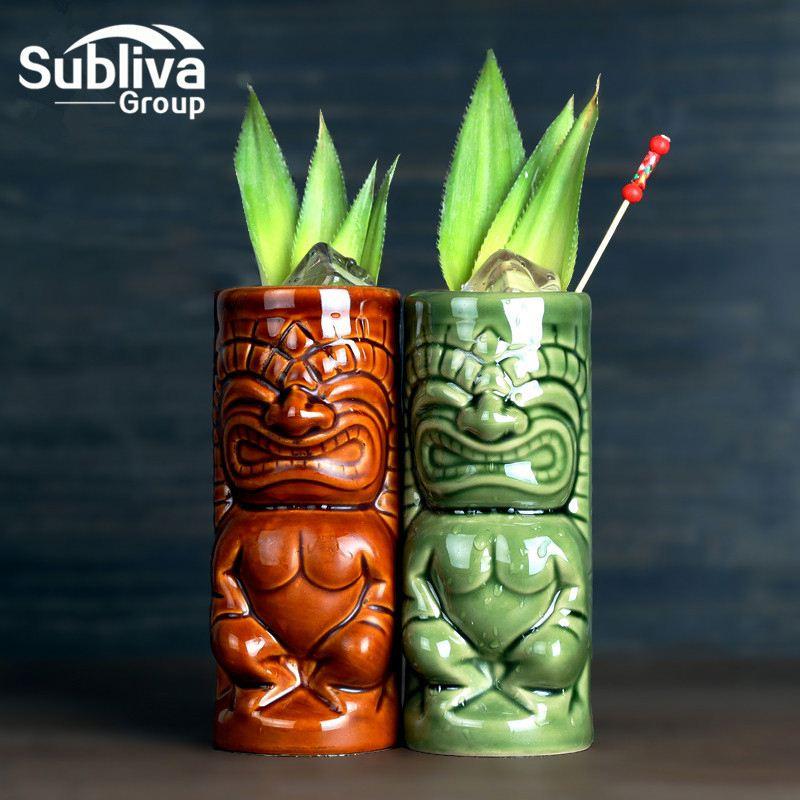 Ceramic Cylinder Tiki Mug 330ml Cocktail Cup Beer Beverage Mug Bar Tool