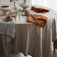 OEM Stone Washed linen Table linen and napkins , 100%French Linen Table Cloth With Various sizes