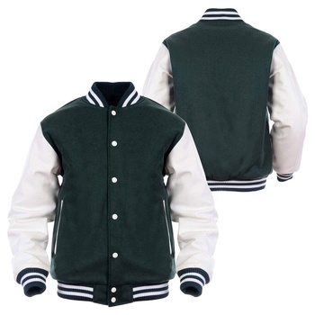 OEM high quality versity jacket for men leather sleeves new custom made green versity jacket