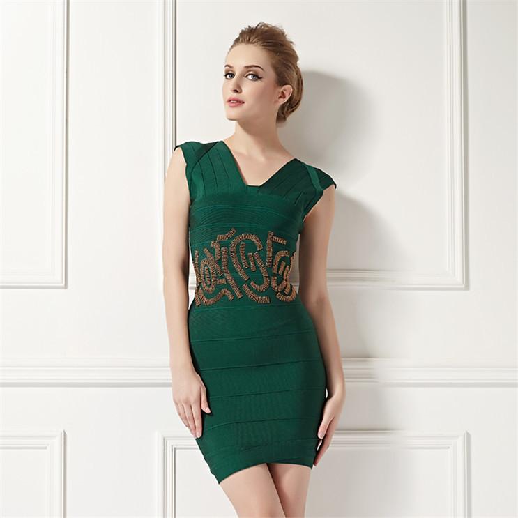 Venta Al Por Mayor Vestido Verde Esmeralda Corto Compre