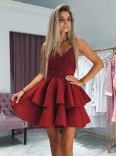 Платье SWEMILE, бордовое, кружевное, многослойное, короткие, с открытой спинкой и блестками(Китай)