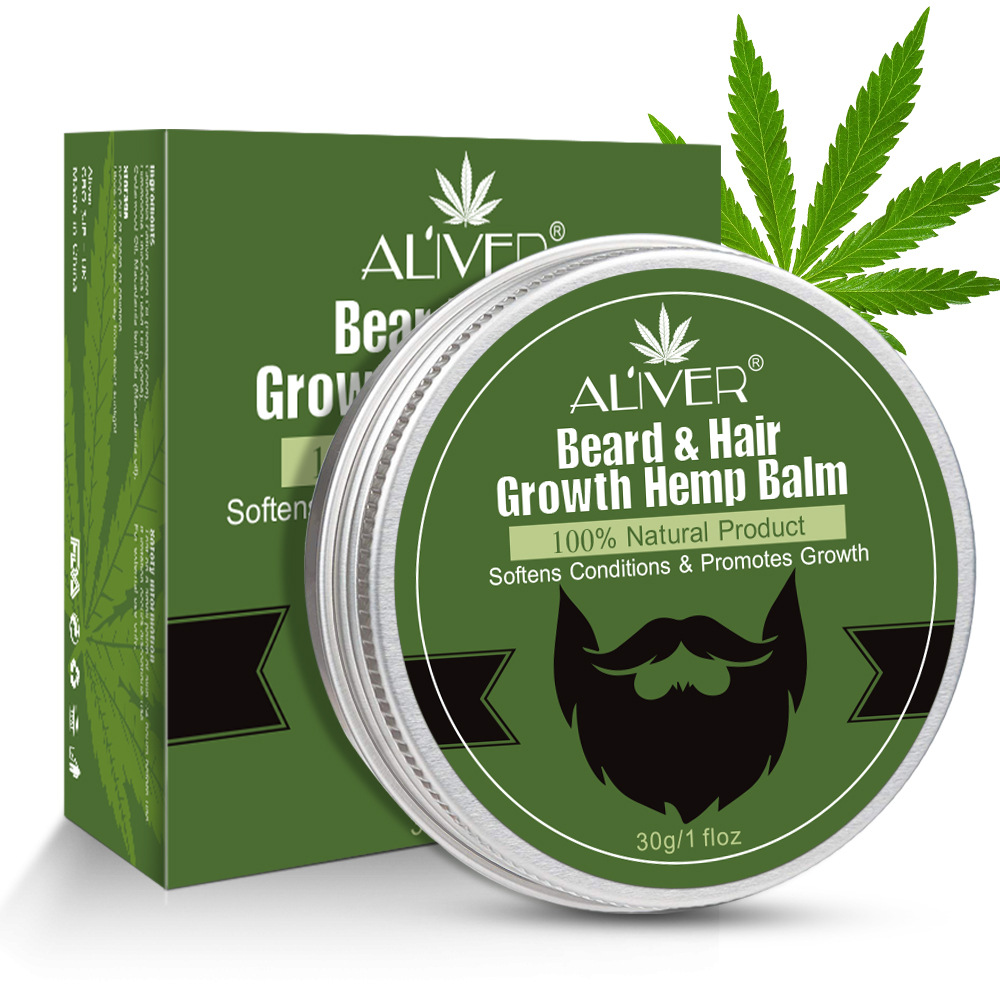 Aliver 100% Natural Refreshing Nourishing Hemp Oil Beard Hair Growing Balm