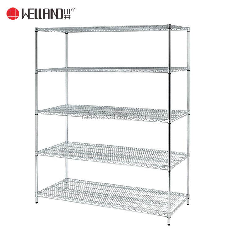 800lbs Loading Weight Per Steel Shelf 5 Tiers NSF Metro Office Industrial Storage Racking Wire Metal Shelving in Chrome Finish