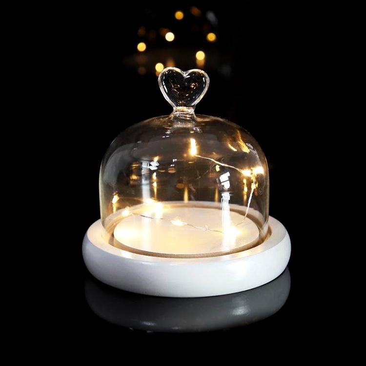 Borosilikat Terarium Bell Kue Cloche Toples Tampilan Diawetkan Mawar Perhiasan Kubah Kaca dengan Lampu LED Bluetooth Dasar Kayu