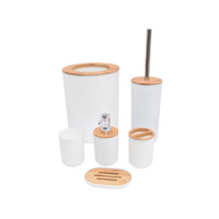 New Modern bamboo 6 Piece Plastic Toilet Accessories Bathroom Set