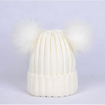 Fashion New Product Design Baby Winter Fur Pompom Hat Real Double Raccoon Fur Pom Poms Beanie Hats for Kids