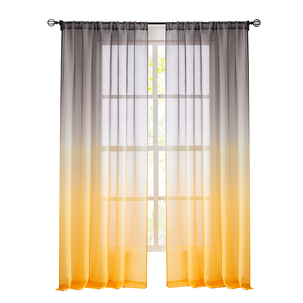 Reversible Ombre Semi Sheer Yellow Grey Curtains Voile Gradient Curtains  for Girls Bedroom Home Decor Living Room
