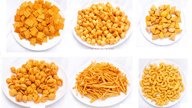 Corn chips extruder line automatic puffed fried snacks food machine bulges chip machine