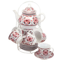 Nordic vintage style home restaurant 13pcs cheap cafe ceramic teapot and cup set with saucer