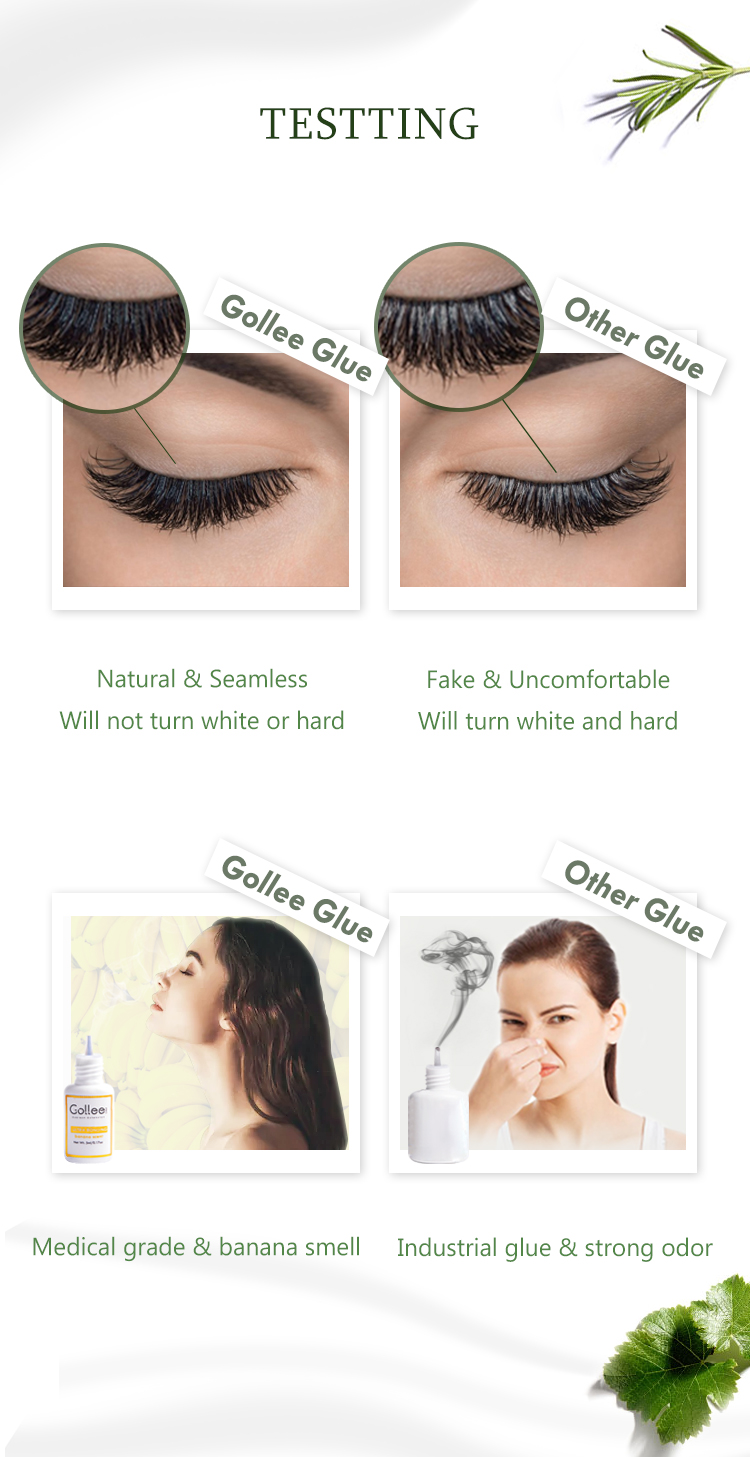 Gollee Banana Scent Best Strong Organic 1-2 Seconds Fast Dry Black Eyelash Extension Glue