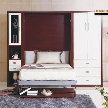 Saving Space Smart Bedroom Furniture Sets Wooden Wall Bed Murphy