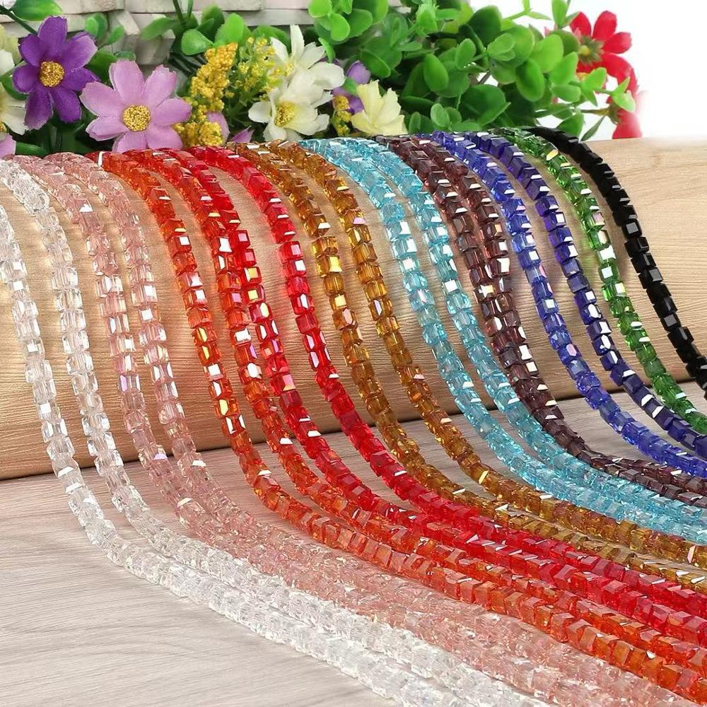 Colourful 2/3/4/6/8 mm Spacer Crystal Beads Charms Finding Glass Square Beads For Jewelry Making DIY Beads Bracelet Earrings