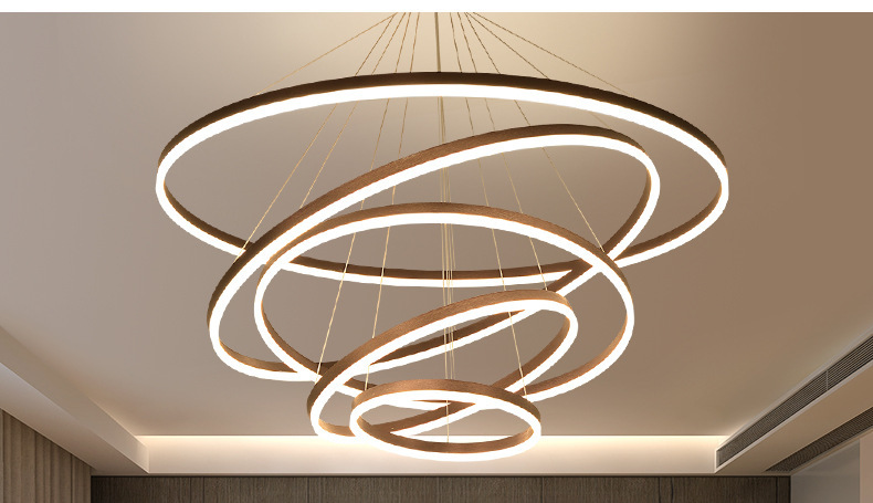 Modern circle 18w led copper ring chandelier for living room led pendant light