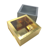 Luxury gold magnet folding cardboard gift box with clear pvc window